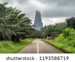 Pico Cão Grande in Sao Tome and Principe, nature landscape. Travel to Sao Tome and Principe. Beautiful paradise island in Gulf of Guinea. Former colony of Portugal.