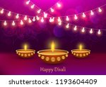 diwali diya lamp lantern lights ... | Shutterstock .eps vector #1193604409