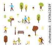 autumn park pattern with... | Shutterstock . vector #1193612839