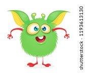 happy cartoon monster. vector... | Shutterstock .eps vector #1193613130