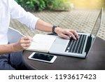 Man Working On Modern Laptop...