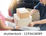 woman receiving parcel... | Shutterstock . vector #1193618089