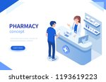 doctor pharmacist and patient... | Shutterstock . vector #1193619223