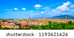 Stock photo florence or firenze cityscape panorama view from michelangelo park square ponte vecchio bridge 1193621626