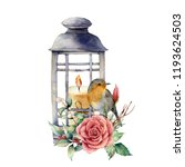 watercolor lantern with candle...   Shutterstock . vector #1193624503