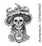 la calavera catrina. elegant... | Shutterstock .eps vector #1193624563