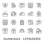 gifts line icons. set of... | Shutterstock . vector #1193626303