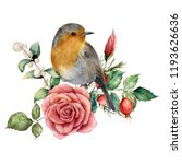 Watercolor Bouquet With Robin...