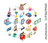 commerce icons set. isometric... | Shutterstock .eps vector #1193629060