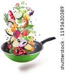 flying fresh vegetables and... | Shutterstock . vector #1193630389