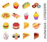 favorite food. set of colorful... | Shutterstock .eps vector #1193632690