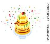 birthday cake. vector isometric ... | Shutterstock .eps vector #1193633830