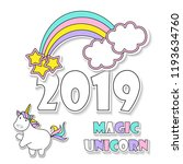 sweet magic with a unicorn ... | Shutterstock .eps vector #1193634760