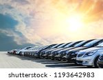 cars for sale stock lot row.... | Shutterstock . vector #1193642983