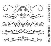 collection of handdrawn swirls... | Shutterstock .eps vector #1193670589