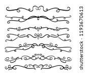 collection of handdrawn swirls... | Shutterstock .eps vector #1193670613
