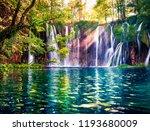 last sunlight lights up the... | Shutterstock . vector #1193680009