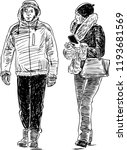 sketch of a pair of urban...   Shutterstock .eps vector #1193681569