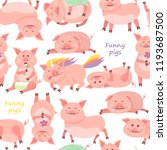 seamless pattern with funny... | Shutterstock .eps vector #1193687500