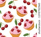 cupcake with cherry seamless... | Shutterstock .eps vector #1193702560