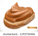 peanut butter on bread. caramel ... | Shutterstock .eps vector #1193733406