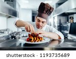 closeup of a young chef... | Shutterstock . vector #1193735689