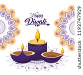 diwali candle and vessels lits... | Shutterstock .eps vector #1193747929