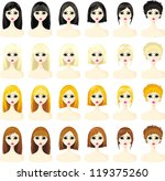 icons set of women's hairstyles | Shutterstock .eps vector #119375260