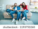beautiful happy family watch tv ... | Shutterstock . vector #1193753260