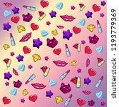 digital pattern   stickers | Shutterstock . vector #1193779369