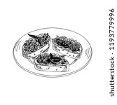 vector hand drawn bruschetta... | Shutterstock .eps vector #1193779996