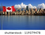 Stock photo canadian flag in front of the beautiful city of vancouver canada 119379478