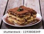 homemade tiramisu cake . sweet...   Shutterstock . vector #1193808349