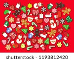 colorful christmas cookies ... | Shutterstock .eps vector #1193812420