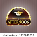 gold badge with graduation cap ... | Shutterstock .eps vector #1193842093