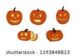 set of pumpkins for halloween....   Shutterstock .eps vector #1193848813