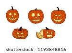 set of pumpkins for halloween....   Shutterstock .eps vector #1193848816