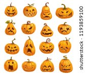 halloween pumpkins with... | Shutterstock .eps vector #1193859100