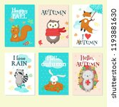 vector set of autumn cards with ... | Shutterstock .eps vector #1193881630