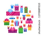collection of gift boxes... | Shutterstock .eps vector #1193889310