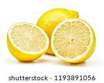 ripe lemon fruits isolated on... | Shutterstock . vector #1193891056