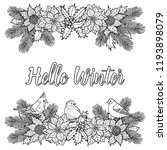 hello winter coloring page with ... | Shutterstock .eps vector #1193898079