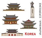 korea famous architecture and... | Shutterstock .eps vector #1193901343
