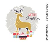 merry christmas vintage card.... | Shutterstock .eps vector #1193913409