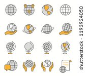 globe flat line icons. set of... | Shutterstock .eps vector #1193924050