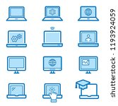 laptop flat line icons. set of... | Shutterstock .eps vector #1193924059