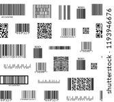barcode and qr code seamless... | Shutterstock .eps vector #1193946676