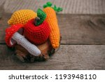 set of knitted toys lemon ... | Shutterstock . vector #1193948110