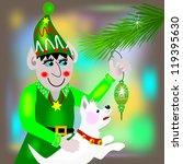 elf hanging an ornament.  an... | Shutterstock . vector #119395630