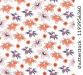 hand drawn flowers seamless... | Shutterstock .eps vector #1193956360